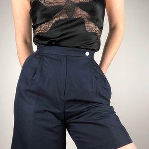 VINTAGE | High Waist Navy Cotton Pleat Front Short